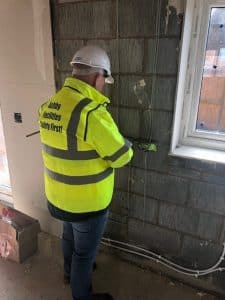 Electrical and plumbing first fix new build housing development Craven Arms Shrewsbury